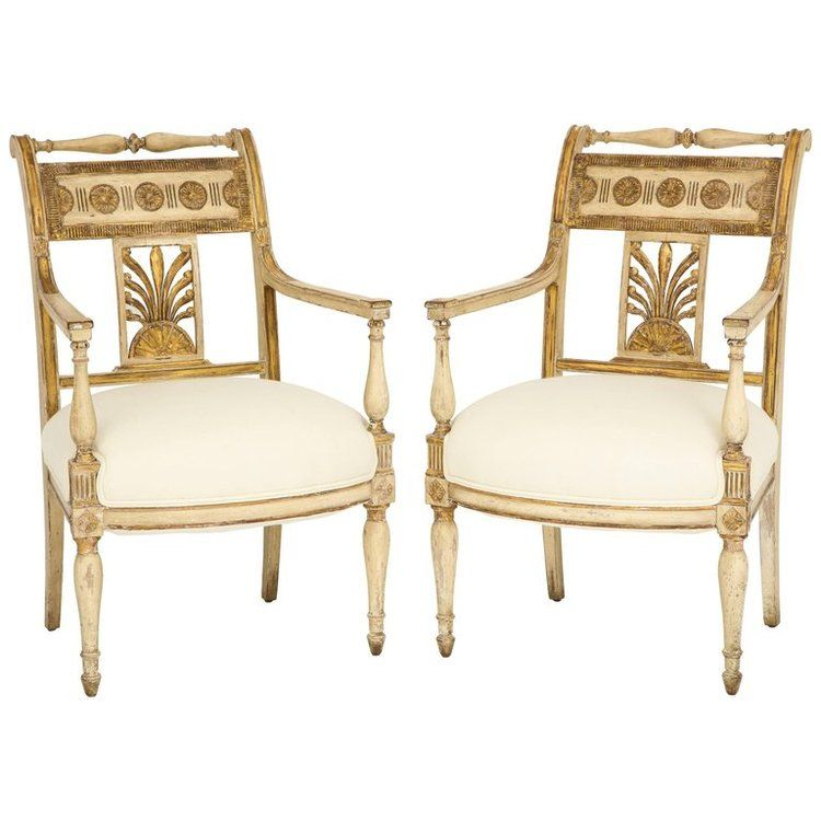 A Stunning Pair Of Italian Neapolitan Empire Period Carved Painted And Parcel Gilded Armchairs The Backrest Armchair Vintage Armchair Blue Upholstered Chair