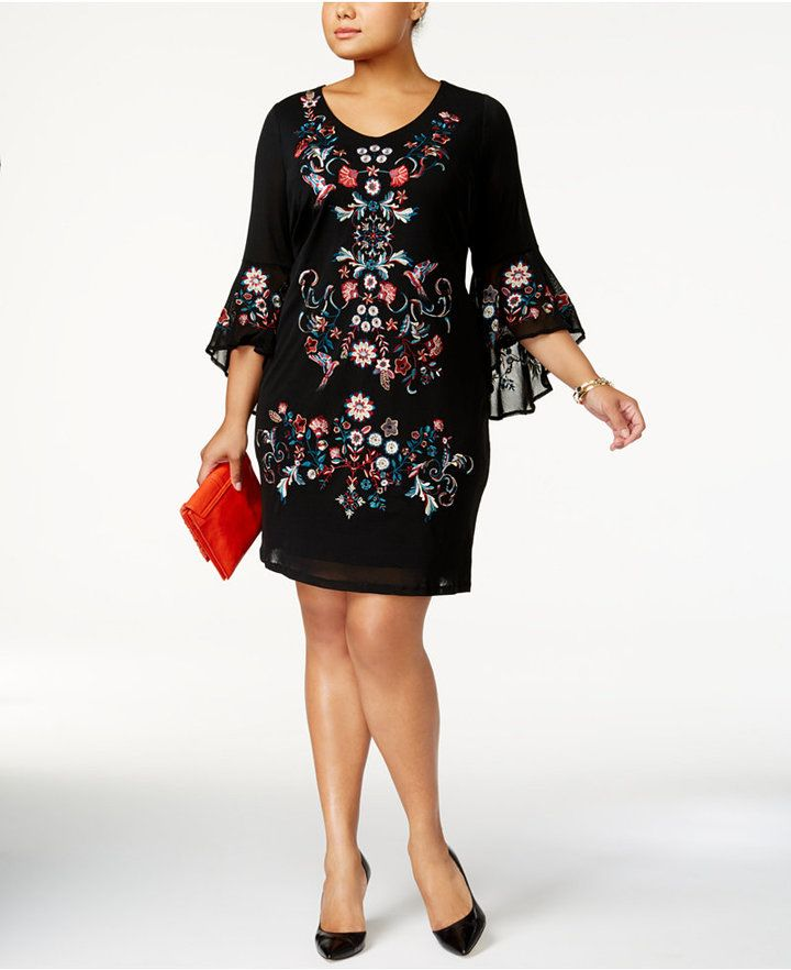 INC International Concepts Plus Size Embroidered Mesh Dress ...