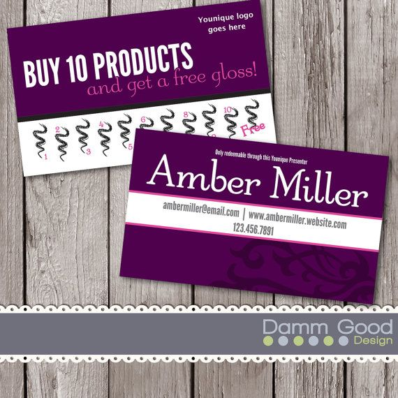 Younique loyalty card, printable, punch card, Younique marketing, by - fresh younique gift certificate template