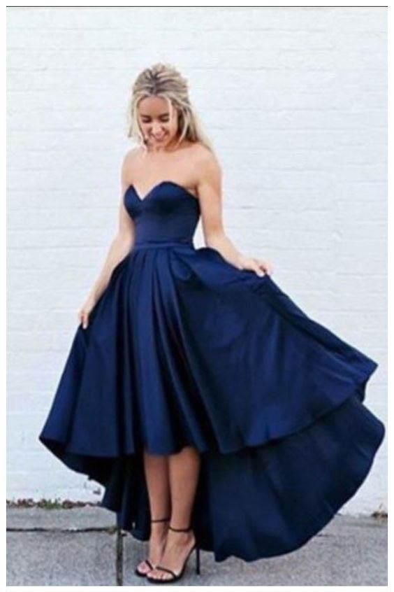 Blue High Low Strapless Formal Dresses