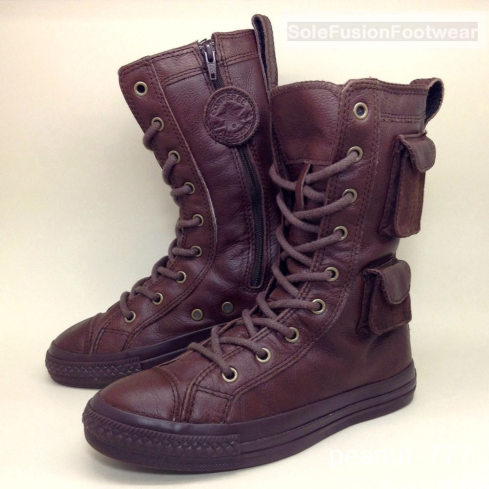 Converse All Star Girls Leather Combat Boots Brown sz 3 X HI ...