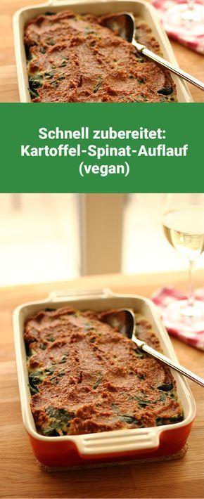 Blitzschnell zubereitet: Kartoffel-Spinat-Auflauf mit Cashew-Topping