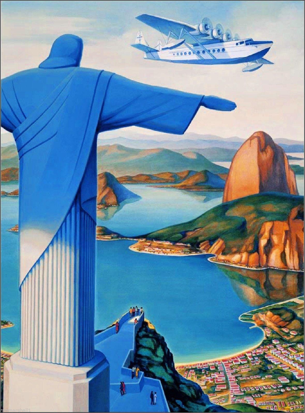 Flying Down to Rio De Janeiro Brazil Vintage Travel Art ...