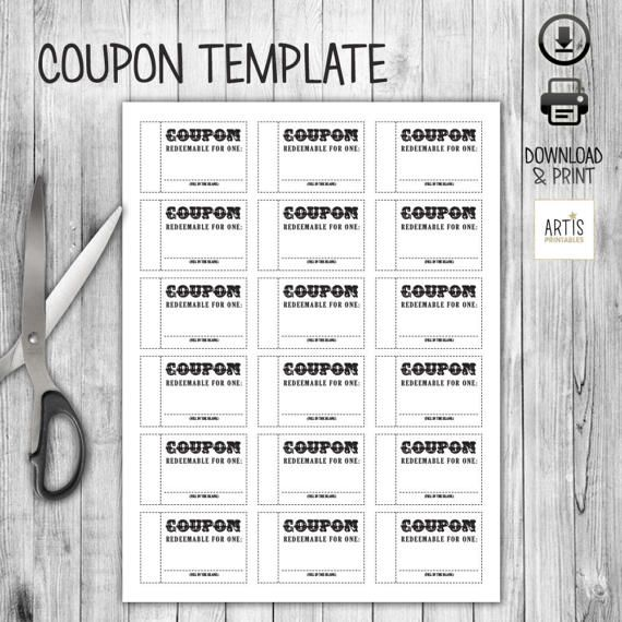 Coupon Book Coupon Template Empty Love Coupon By Artisprintables