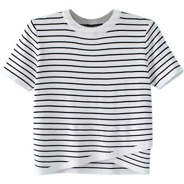 White Striped Wrap Front Asymmetric Ribbed Knit Sweater ($27) ❤ liked on Polyvore featuring tops, sweaters, white sweater, wrap front top, stripe top, white striped sweater and collared sweater