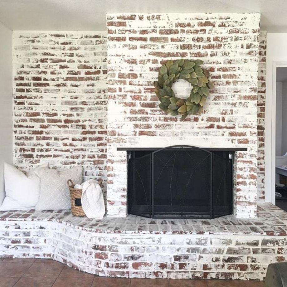 Incredible diy brick fireplace makeover ideas Brick fireplace