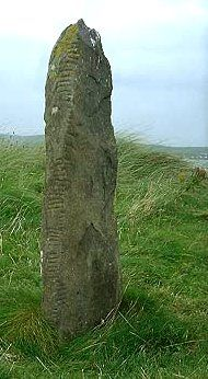 Ogham stone, Ballinrannig, county Kerry, Ireland.