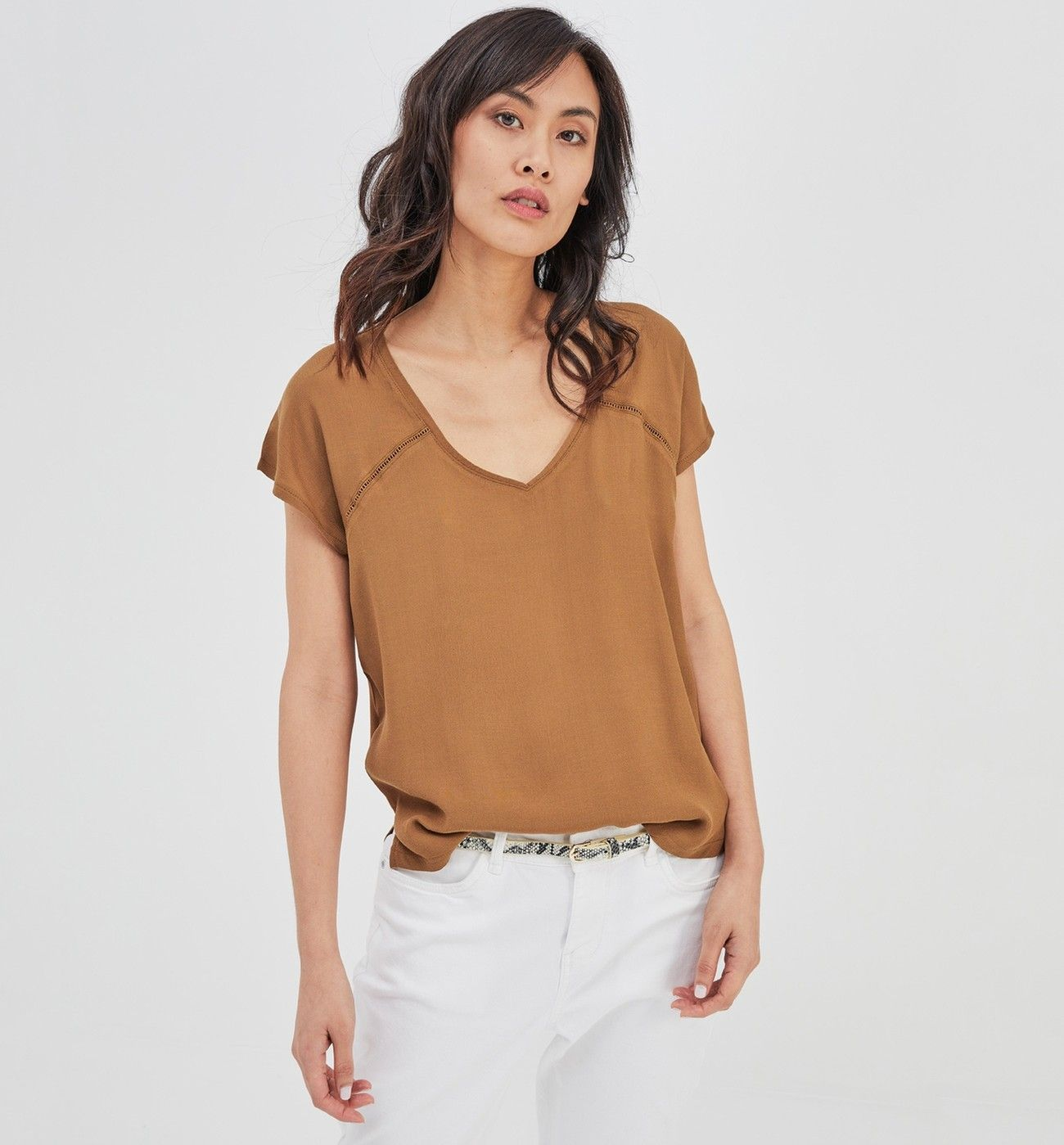 66451f078 Top manches courtes Femme - Vert olive - Tops / T-shirts - Femme ...