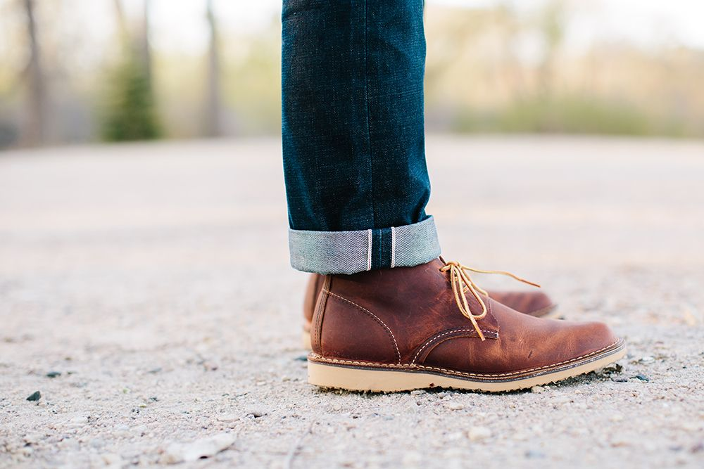 Chukka boots outfit, Red wing boots