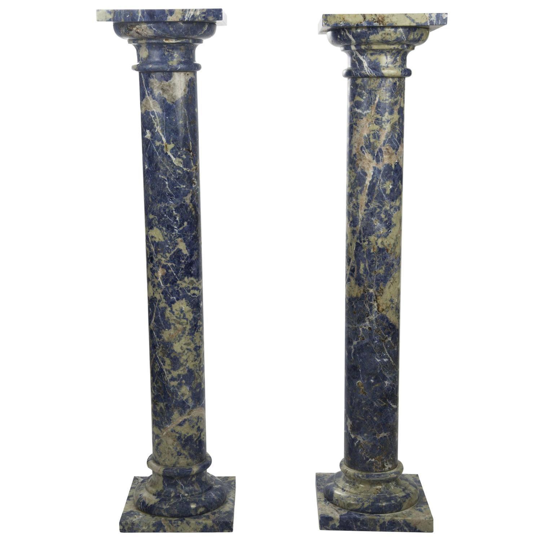 Pair Of Lapis Lazuli Marble Pedestal Columns Marble Columns Italian Marble Pedestal