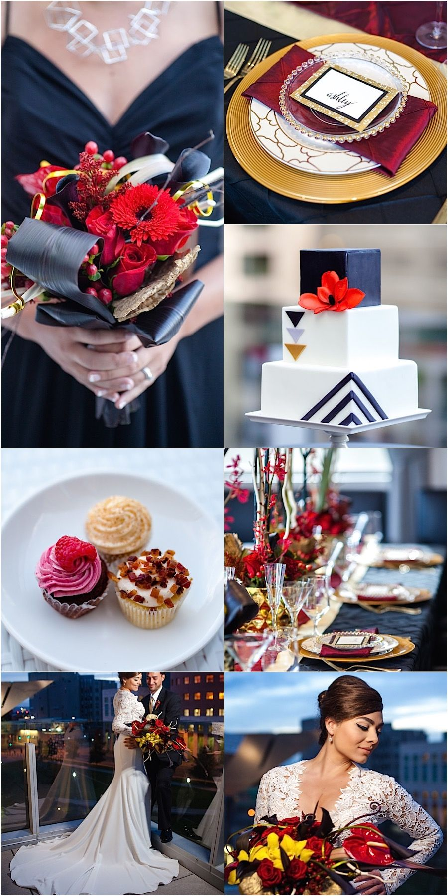 Wedding color ideas: red, gold and black; Click to see more details of this gorgeous wedding; photo: Urban Safari Photography