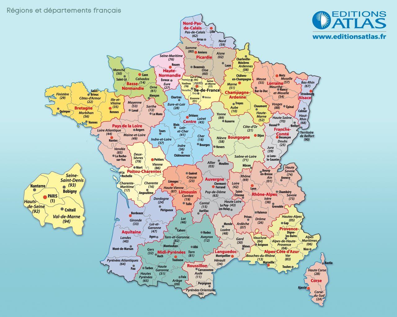 Carte de France Régions et Départements français Arts