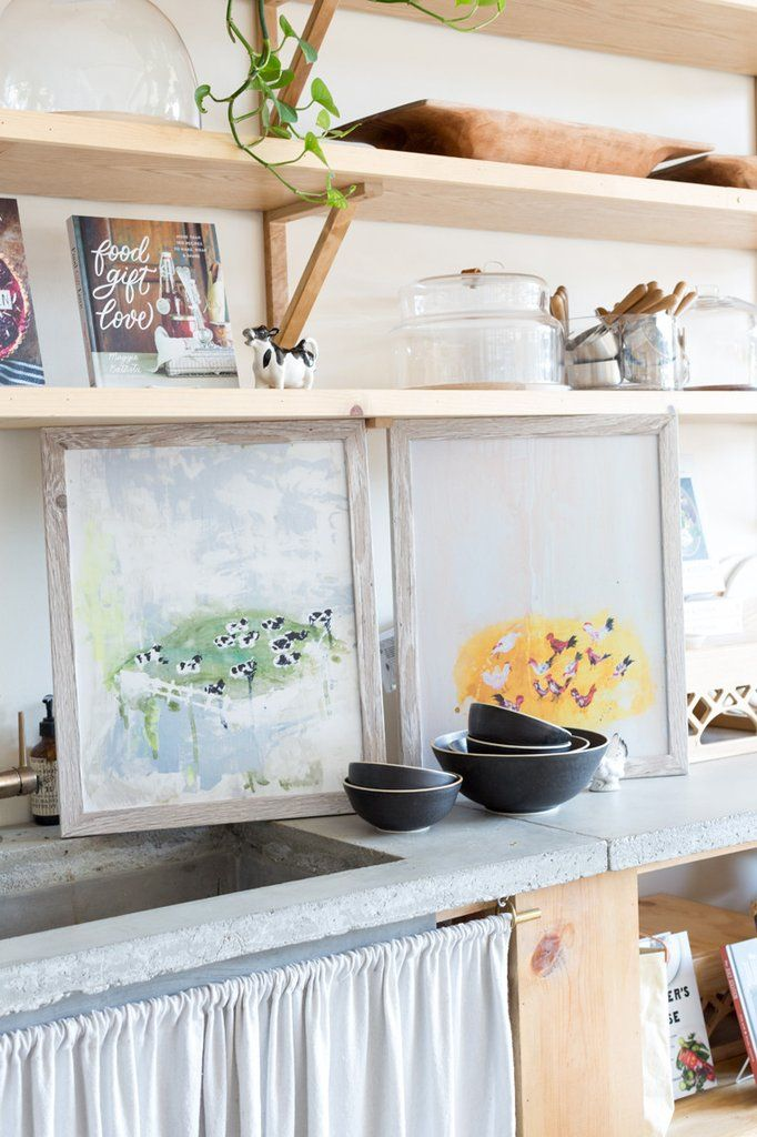 Modern Farmhouse Art - Cheery Chickens abstract canvas print by Lindsay Letters.