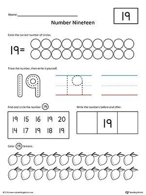 Number 19 Practice Worksheet | Writing numbers, Numbers ...