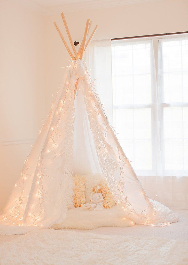 Pin for Later: Girls' Night In: How to Throw a Grown-Up Sleepover Indoor Tent Make or buy a pretty teepee tent for dreamy sleeping.