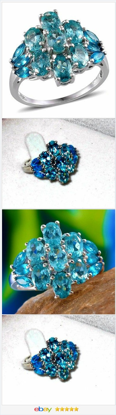 Paraiba and Neon Blue Apatite Ring 4.00 carats Size 9  #EBAY  http://stores.ebay.com/JEWELRY-AND-GIFTS-BY-ALICE-AND-ANN