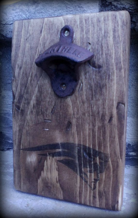 New England Patriots Rustic Bottle Opener by themasonjar06 on Etsy
