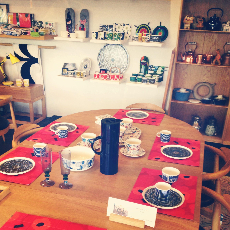 The modern brisbane showroom extendable round dining table european oak 2695 with marimekko tableware