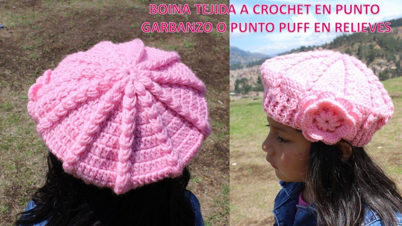 Boina Punto Puff o Garbanzos en Relieves Tejido a Crochet o ...