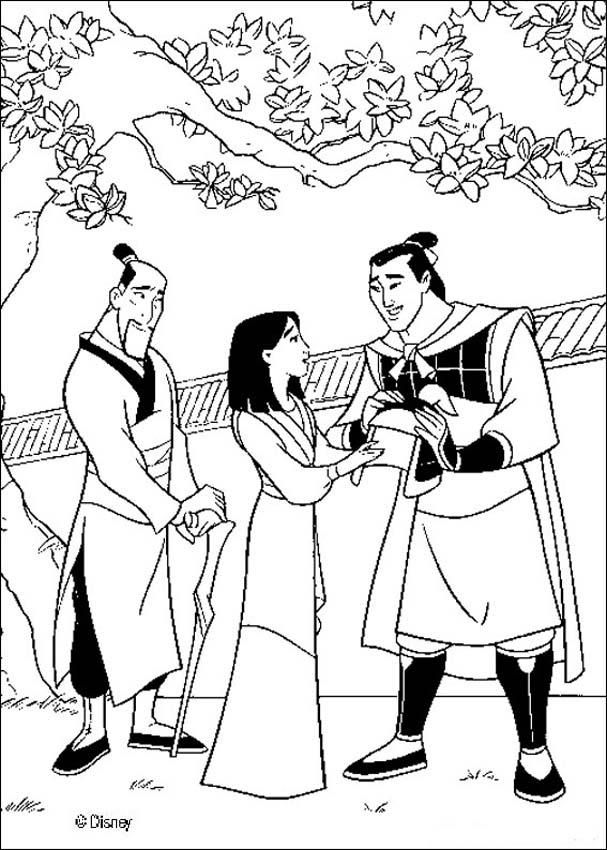 Coloring Sheet About Mulan Beautiful Page Of Li Shang And Fa Zhou For Disney Movies Lovers