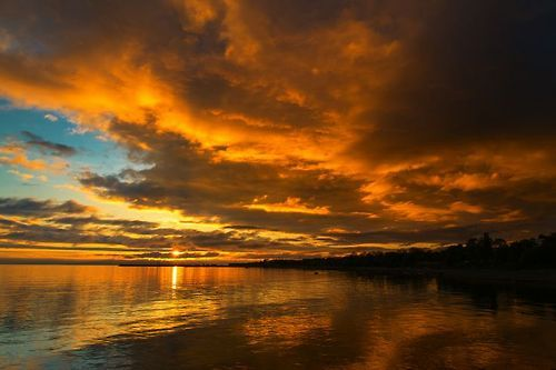 Orange Sunset On The Baltic Sea By YS
