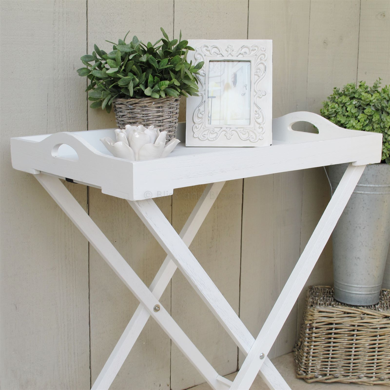 White wooden tray on stand | Bliss and Bloom Ltd