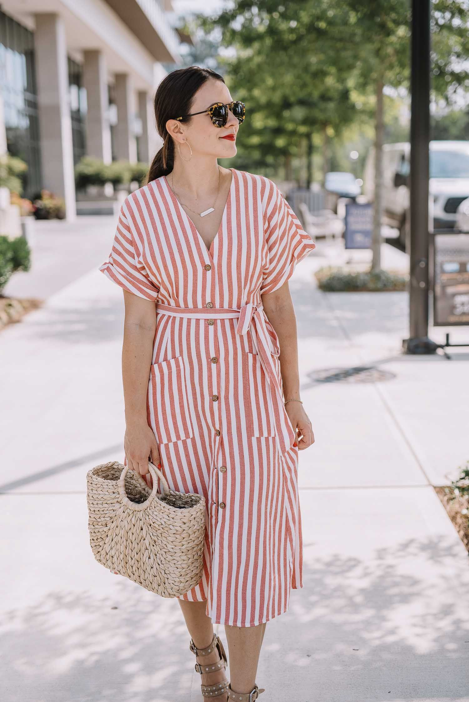 4th Of July Outfit Ideas That Feel Elevated An Indigo Day Striped Dress Outfit Stripe Outfits Stylish Dresses [ 2247 x 1500 Pixel ]