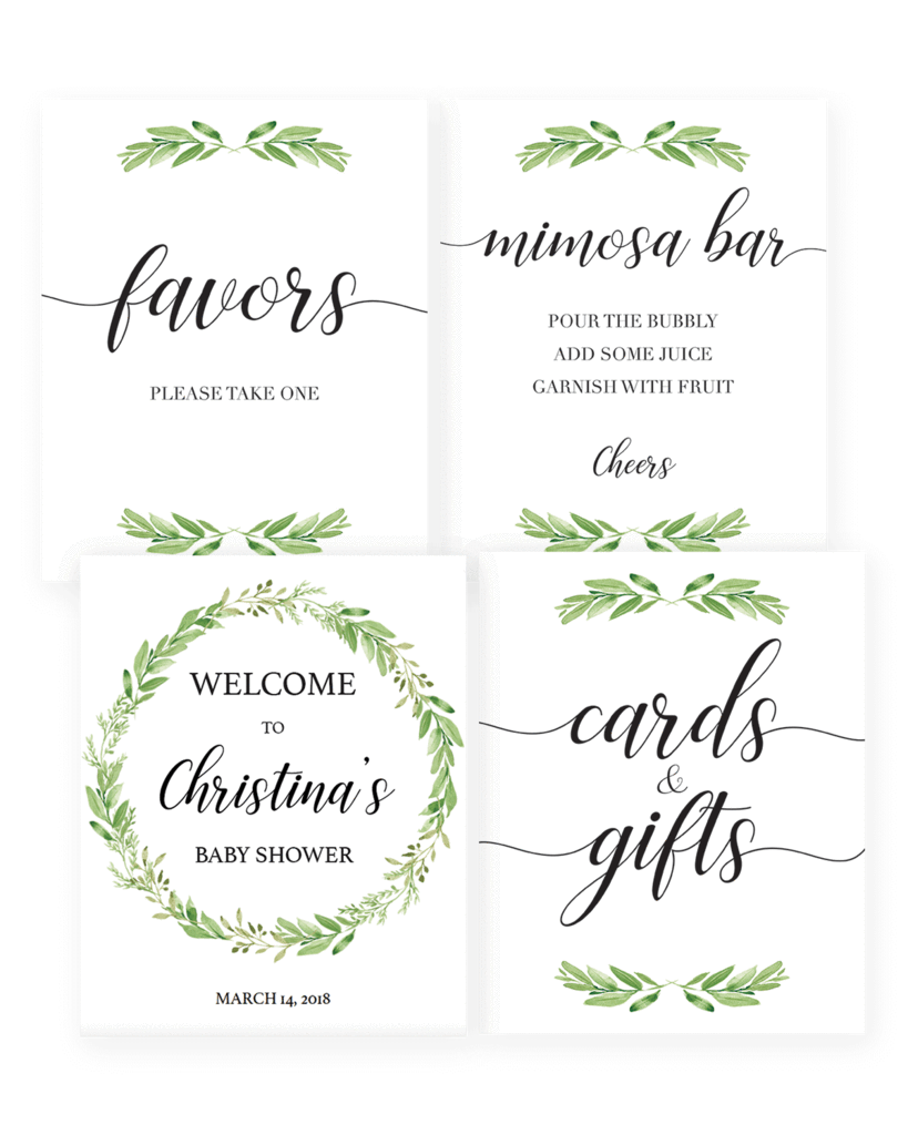 Greenery Baby Shower Decor Package Printable In 2019 Baby Shower