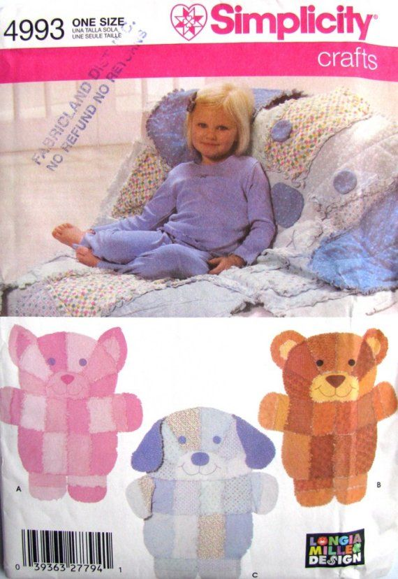 Uncut Sewing Pattern Rag Quilt Throws Cat Bear Dog Simplicity 4993 Bear Quilts Rag Quilt Patterns Baby Rag Quilts