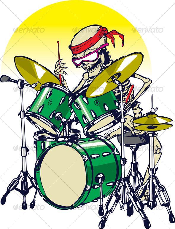 Skeleton Drummer Drums cartoon, Drums art, Drummer tattoo