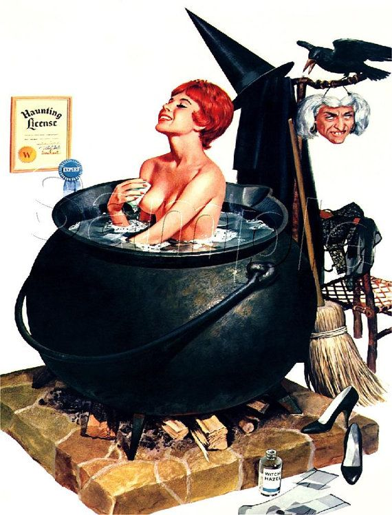 items similar to pin up girl witch halloween wicca wiccan witchcraft couldron bath broom hag mask haunting sexy lingerie vintage canvas art print large size - Vintage Halloween Witches