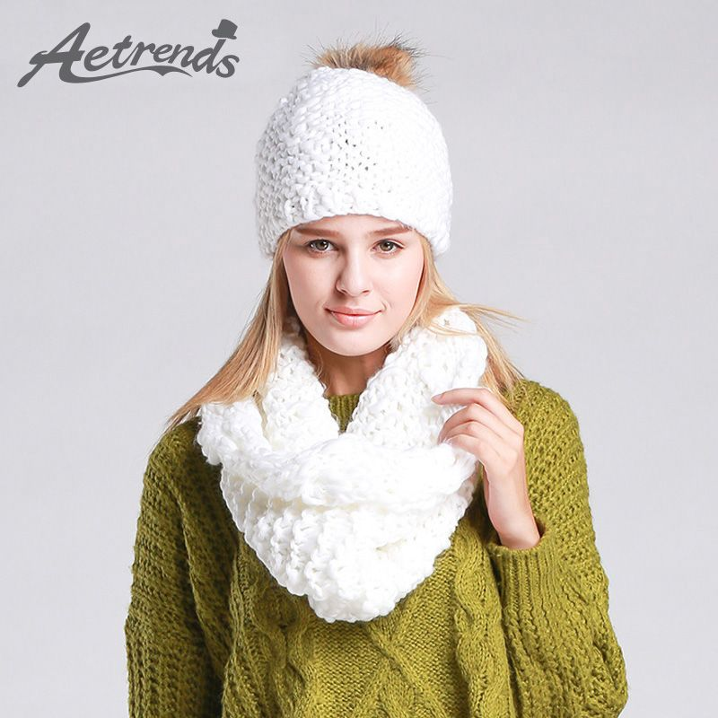 cc04beb8c59  AETRENDS  2016 High Quality Winter Caps with Scarves Knitted Sets Women  Beanie Hats Scarf Z-1335