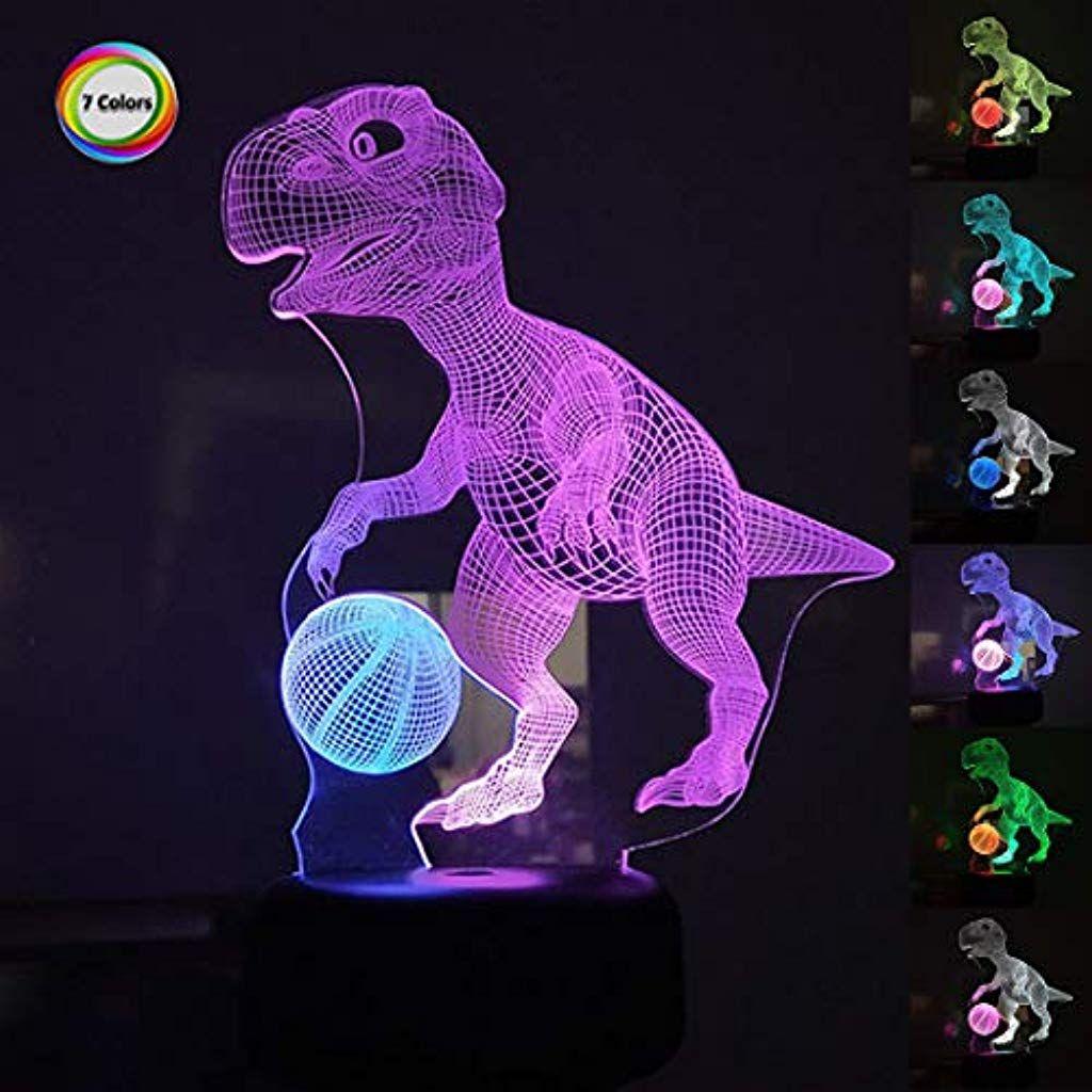Goldmik 3d Illusion Dual Farbe Optisch Mit 7 Farbwechsel Dinosaurier Nachtlicht Nachttischlampe Spielzeug Dekoration Fur Nachtlicht Farbwechsel Nachttischlampe