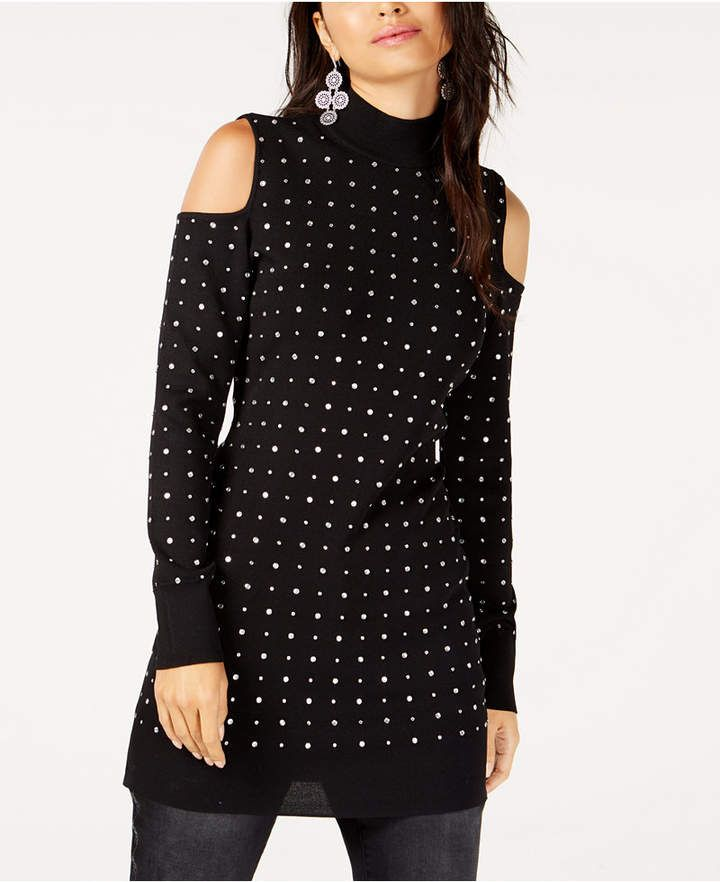 f815532fef1 I.N.C. Rhinestone Studded Cold-Shoulder Tunic Sweater, Created for ...