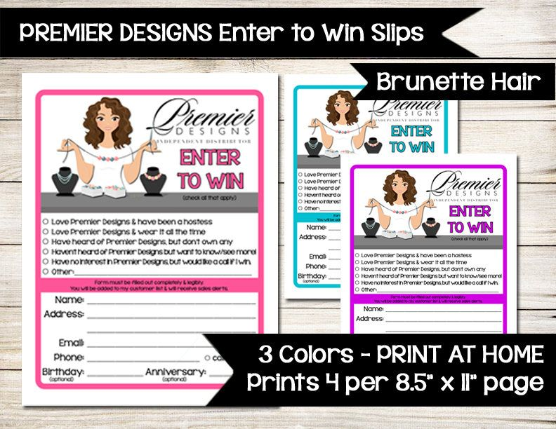 Premier Designs | Enter To Win | Door Prize | Drawing Slip