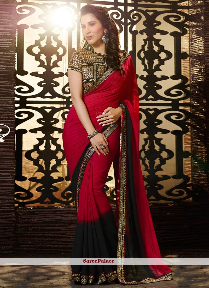 9bfa636adf Sophie Chaudhary Georgette Patch Border Work Red and Black Designer Saree