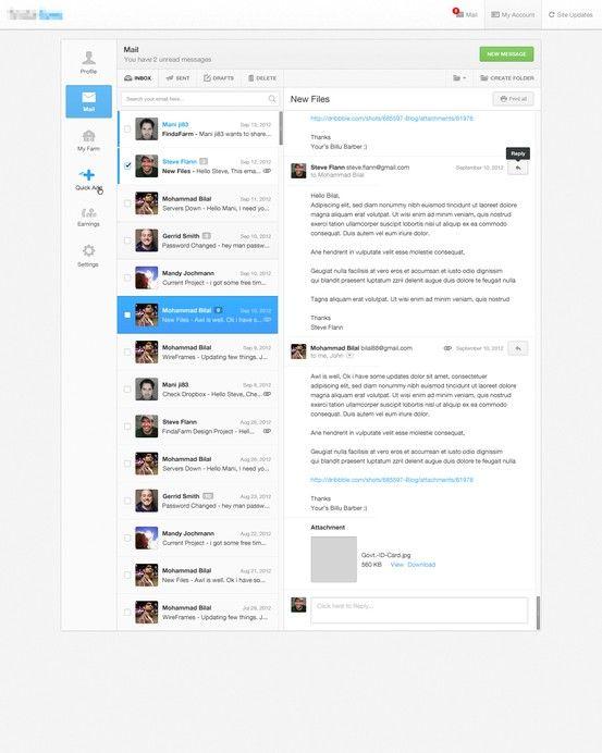 vertical message/conversation design —thinking of 'team stream' here  3 Column Layout : Navigation, 목록, 상세로 구성된 전형적인 구조