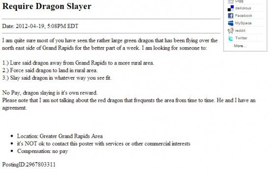 The Original Ad From Craigslist Green Dragon Classified Ads Ads