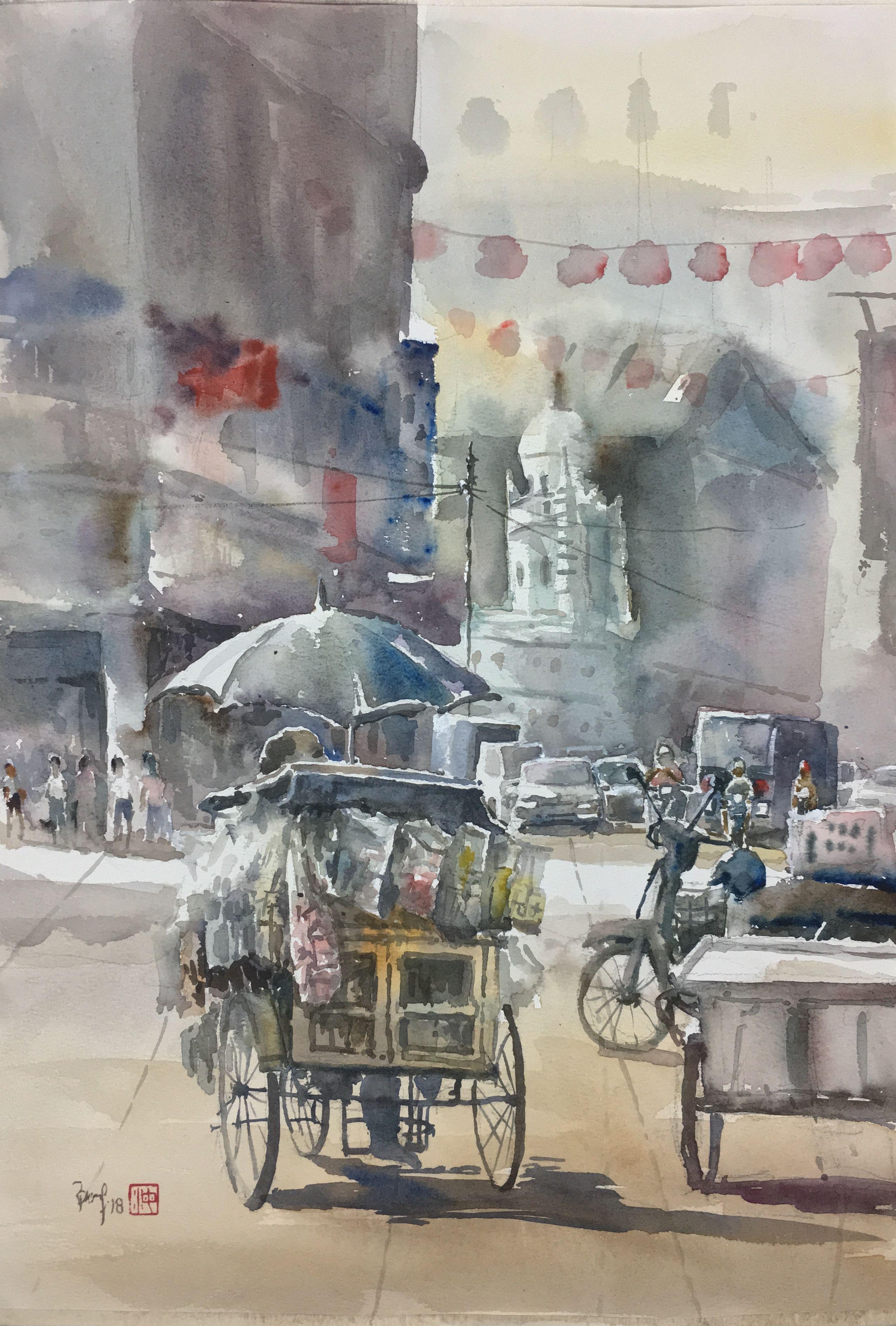 Chulia Street Penang Watercolour By Brian Tai Art Inspiration