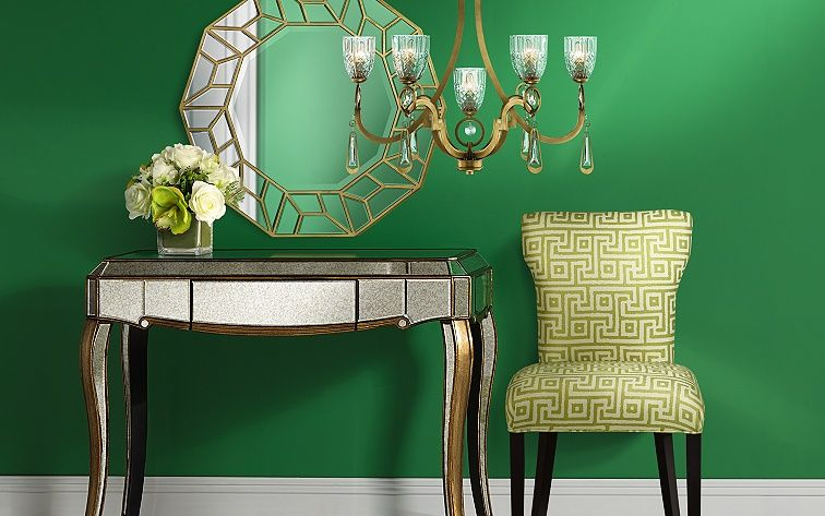 Save up to 65% on contemporary and traditional home furnishings in vibrant green and glimmering gold.