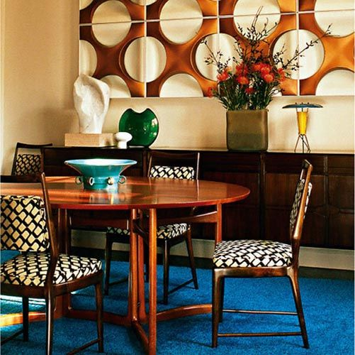 Creative Retro Dining Room Decorating Ideas, mid century dining room, wood sideboard, pattern chairs, blue rug