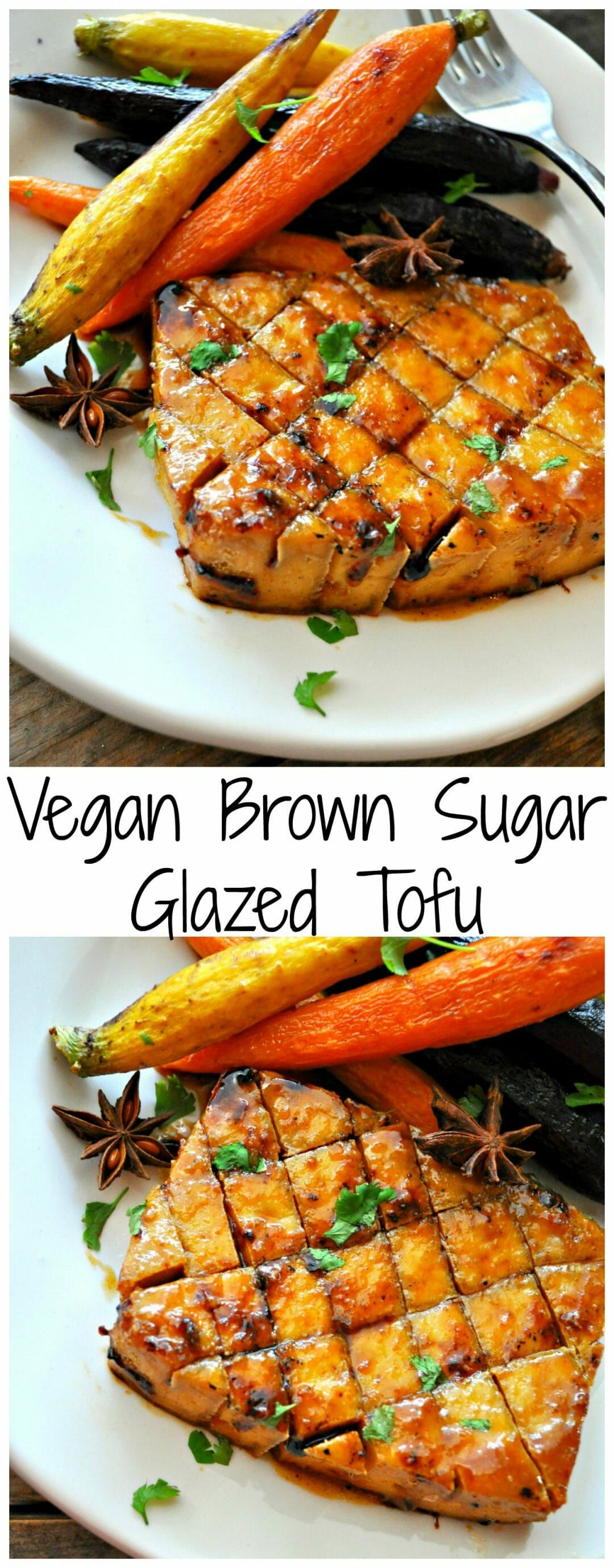Vegan Brown Sugar Glazed Tofu #brownsugar