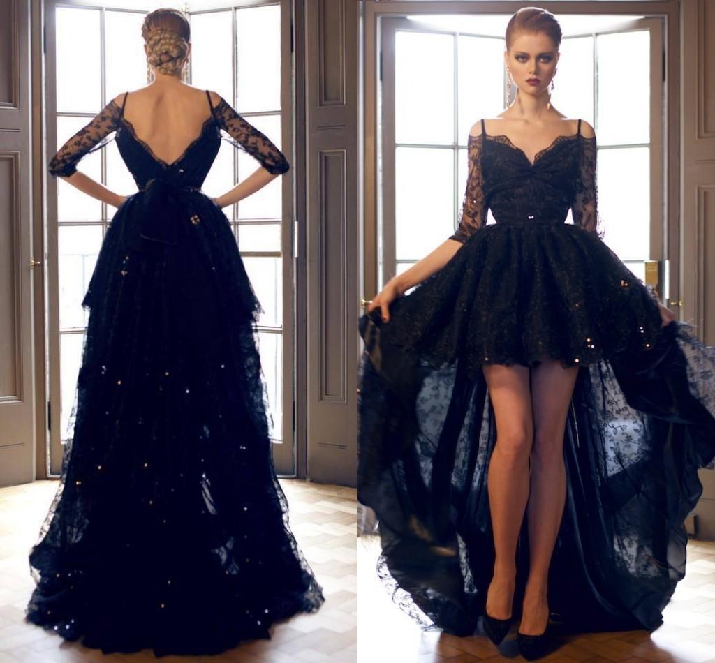 Short Front Long In Back Dress In Black Mullet Dress Long Back Dress Dress For Short Women [ 950 x 1024 Pixel ]
