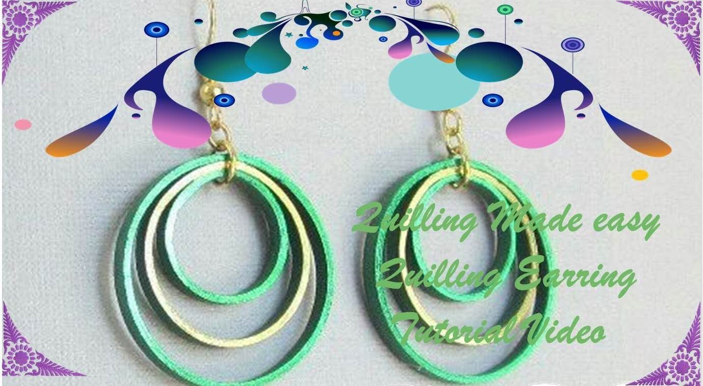 Art & Craft How to make Beautiful Quilling Earring Green/Yellow ...