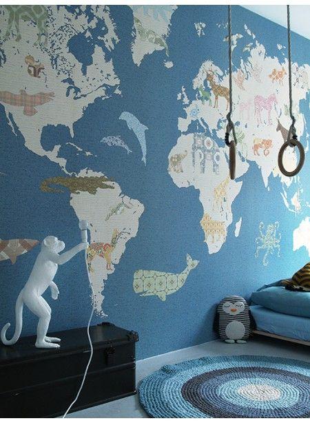 Papier peint XL carte du monde beige sur bleu … | Pinteres…