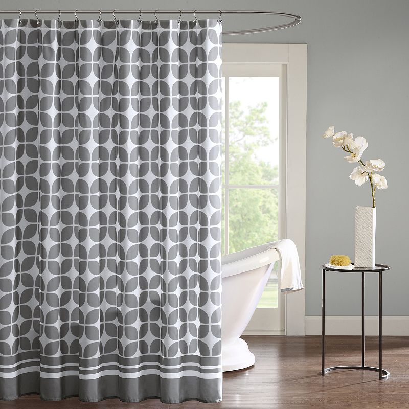Intelligent Design London Shower Curtain Grey Geometric Shower