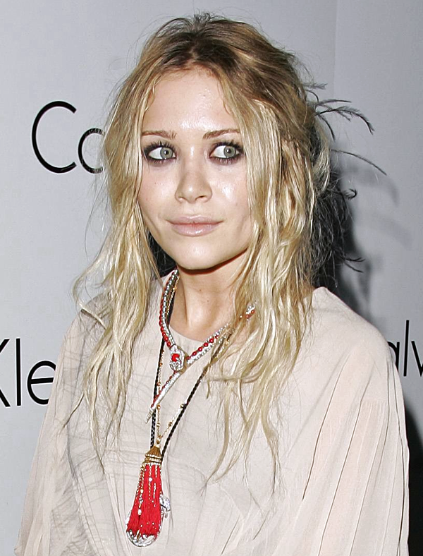 MK MARY KATE OLSEN HIPPIE BOHO BLONDE HAIR CREAM DRESS BEADED TASSLE SNAKE PYTHON NECKLACE