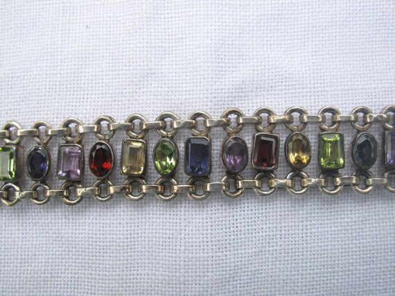 Sterling Silver Bracelet with Multiple Gem by ByChanceVintage, $45.00