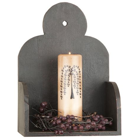 Black Wooden Candle Wall Box