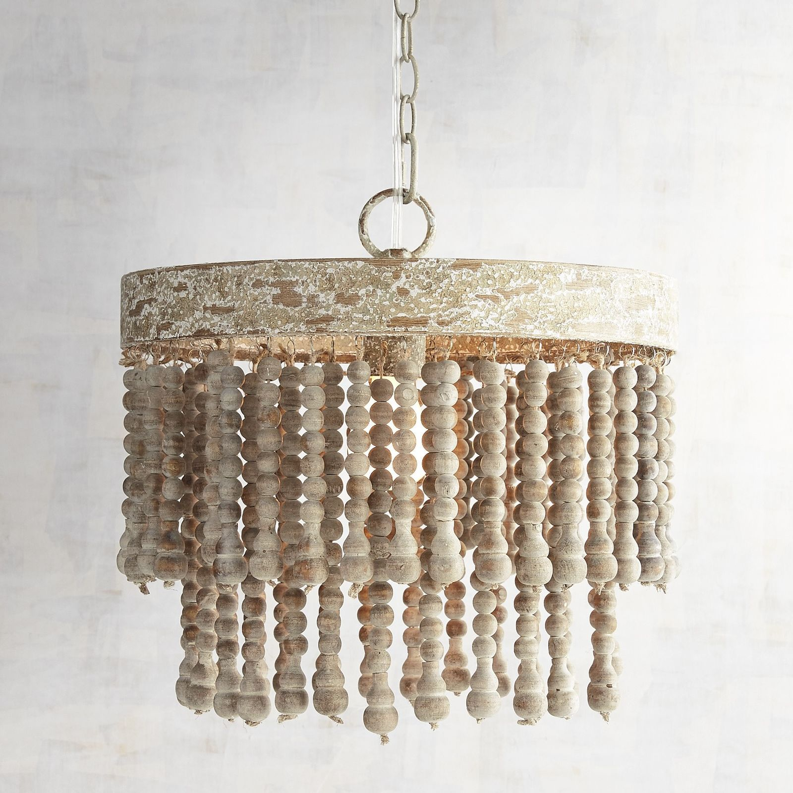 World Market Antique Whitewash Wood Bead Chandelier Crafts And Beaded